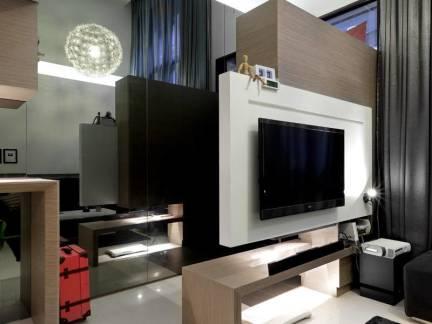 现代简约风格复式楼客厅电视背景墙装修设计