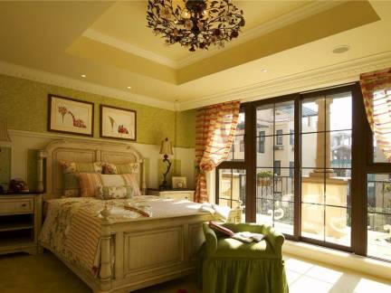 优美欧式田园风格卧室落地窗图片欣赏
