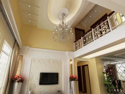 现代欧式风格复式楼客厅吊顶设计方案图片