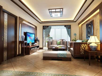 中式简装客厅斜铺地砖装修效果图