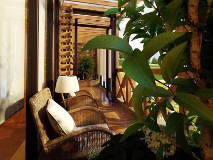 中式风格别墅阳台藤椅装修设计