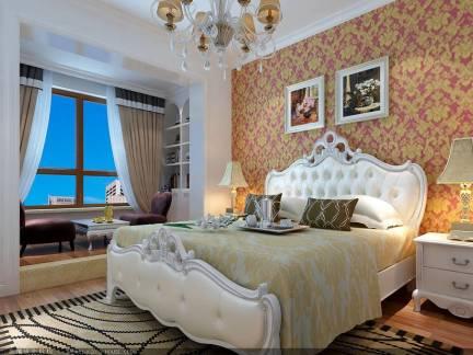简约欧式三居室卧室吊顶背景墙装修图
