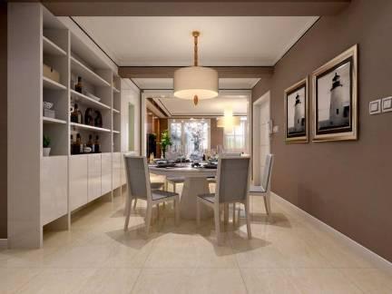 现代风格三室两厅餐厅置物架装修设计