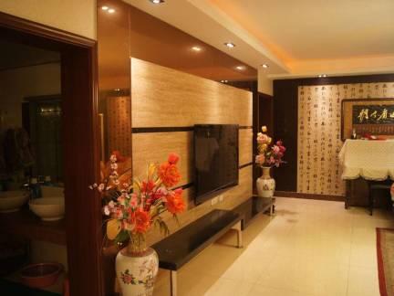 中式四居室客厅电视墙装修设计