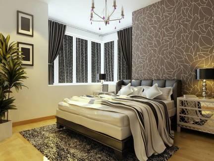 精致现代卧室飘窗窗帘设计图欣赏