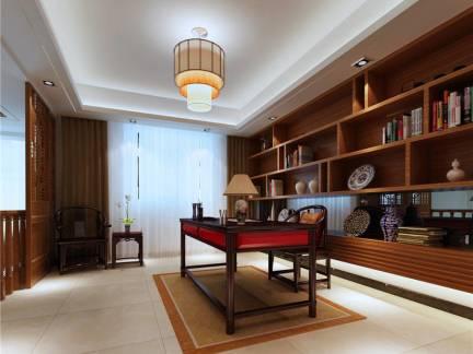 古典中式混搭书房吊顶书柜设计图