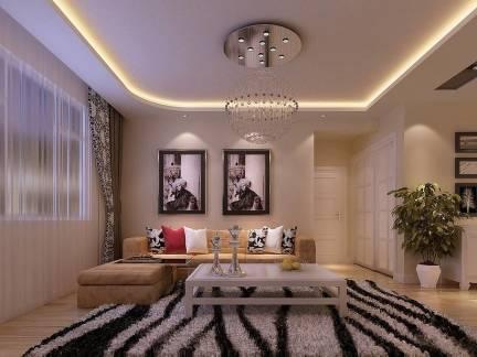 线条艺术现代客厅吊顶照片墙窗帘效果图