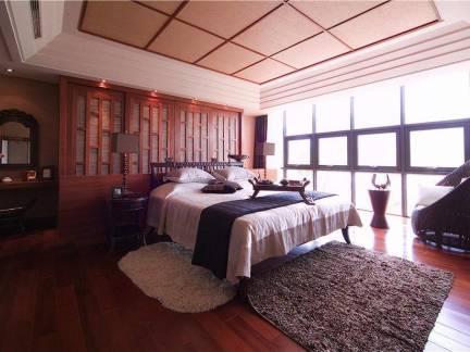 精致中式卧室木质吊顶设计效果图