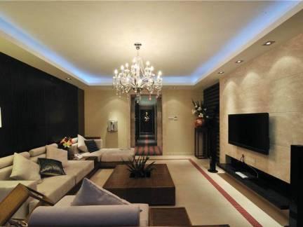 三居室简约风格客厅电视背景墙装修设计