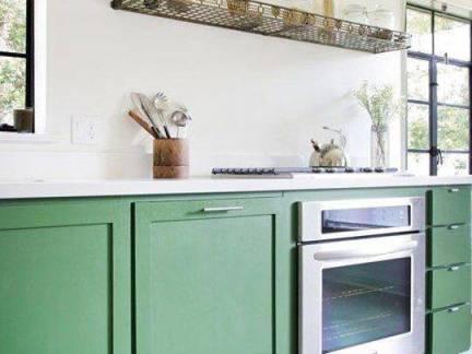 现代典雅地中海风格三居室厨房绿色橱柜设计美图