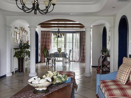 地中海风格别墅客厅实木茶几装修设计