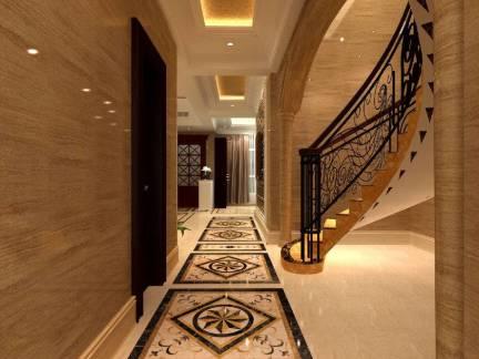 豪华欧式风格别墅楼梯过道装修设计