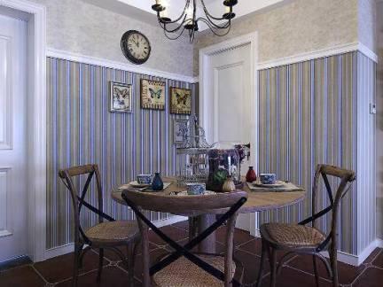 简约温润美式餐厅吊顶背景墙装修图
