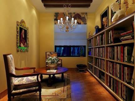 美式乡村美宅书房吊顶书架效果图