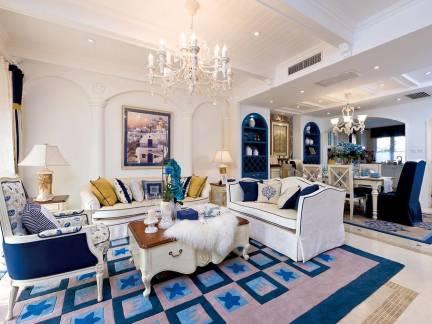 现代华美混搭地中海风格四居室客厅设计布局图