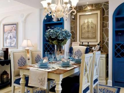 蓝色优雅地中海别墅餐厅吊顶背景墙设计