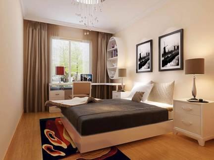 精致现代简约风格三居室卧室窗帘设计特效