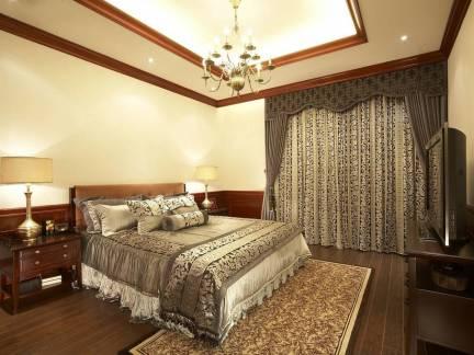 素雅现代美式卧室窗帘设计图欣赏