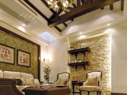 欧式风格别墅客厅横木吊顶装修设计