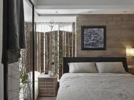日韩风格别墅卧室镂空屏风装修设计