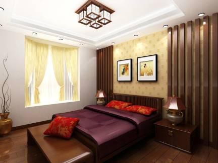 传统中式三居室卧室吊顶背景墙窗帘效果图