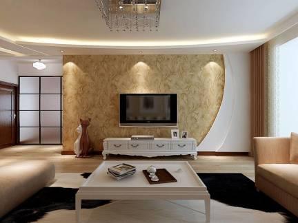 典雅地中海风格三居室客厅电视背景墙