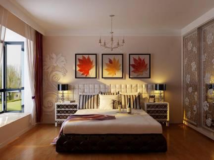三居室美式卧室移门衣柜装修设计