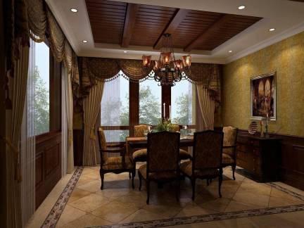 演绎欧式古典风华雅居餐厅吊顶窗帘设计图