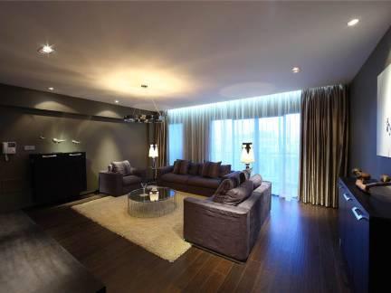 现代风格大户型客厅书房窗帘图片欣赏