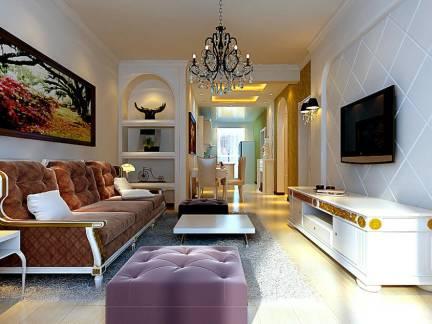古典欧式混搭客厅沙发背景墙效果图