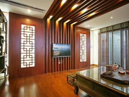 中式二居室客厅电视墙装修设计
