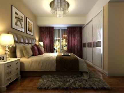 现代简约欧式风格四居室卧室窗帘设计效果欣赏