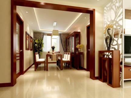 现代简约中式餐厅酒柜设计效果图