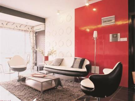 现代简约88平米小户型客厅沙发摆放效果