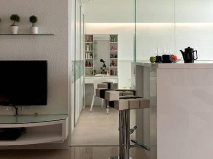 白色现代简约客厅吧台设计案例图