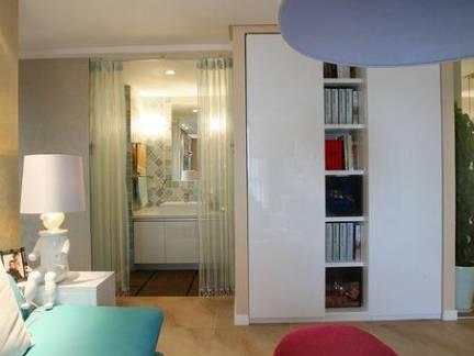 现代简约地中海风格三居室卧室书架设计效果图