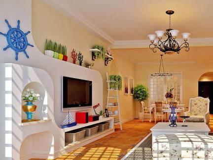 现代华美田园风格四居室客厅电视背景墙设计