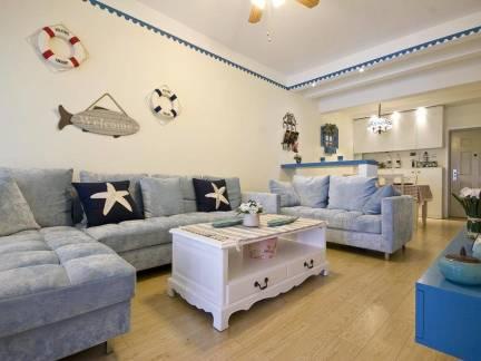 地中海风格三居室客厅墙面装饰图片欣赏