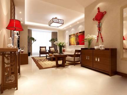 中式风格四居室客厅装饰柜装修效果图