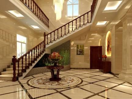 中式风格别墅实木楼梯扶手装修效果图