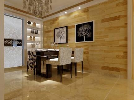 三居室餐厅简约木制背景墙精装设计