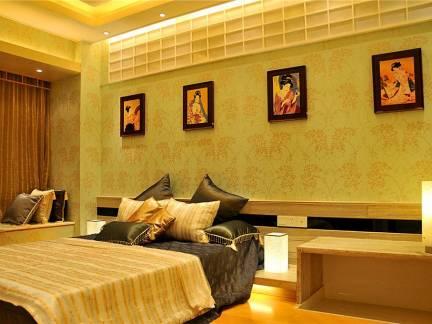 日式风格主卧室背景墙高档壁画装饰效果图