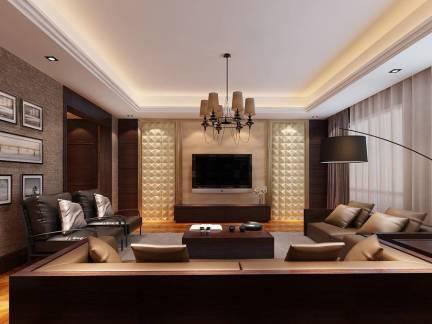 新中式风格别墅客厅电视背景墙图片欣赏