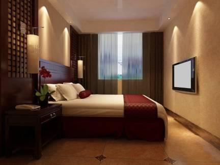 现在中式小户型卧室窗帘背景墙设计图