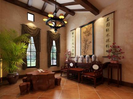 明清中式混搭美宅客厅吊顶窗帘字画图片欣赏