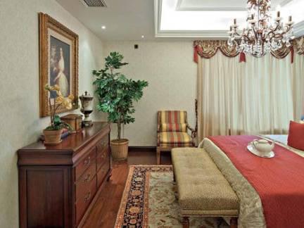 乡村美式风格复式楼卧室木制装饰柜装修设计
