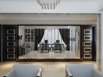 现代风格家庭书房个性屏风精装设计
