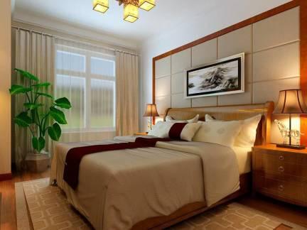 温馨小户型中式卧室背景墙装修图欣赏