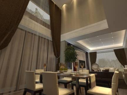 现代工业混搭餐厅吊顶窗帘设计图