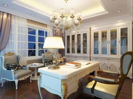 素雅奢华欧式大宅书房窗帘设计图